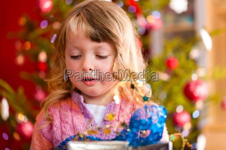 christmas little girl with xmas