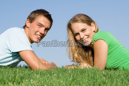 young teen couple with beautiful smiles