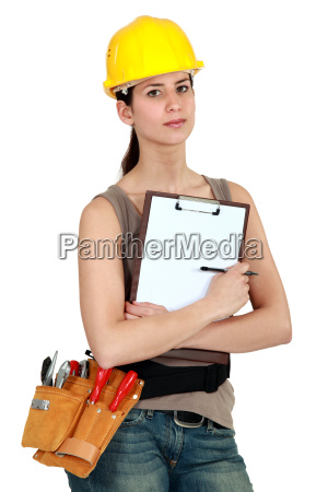 female worker holding clipboard