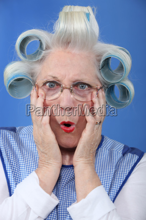 blue eyed granny with giant hair
