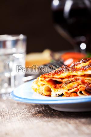 lasagna on blue plate