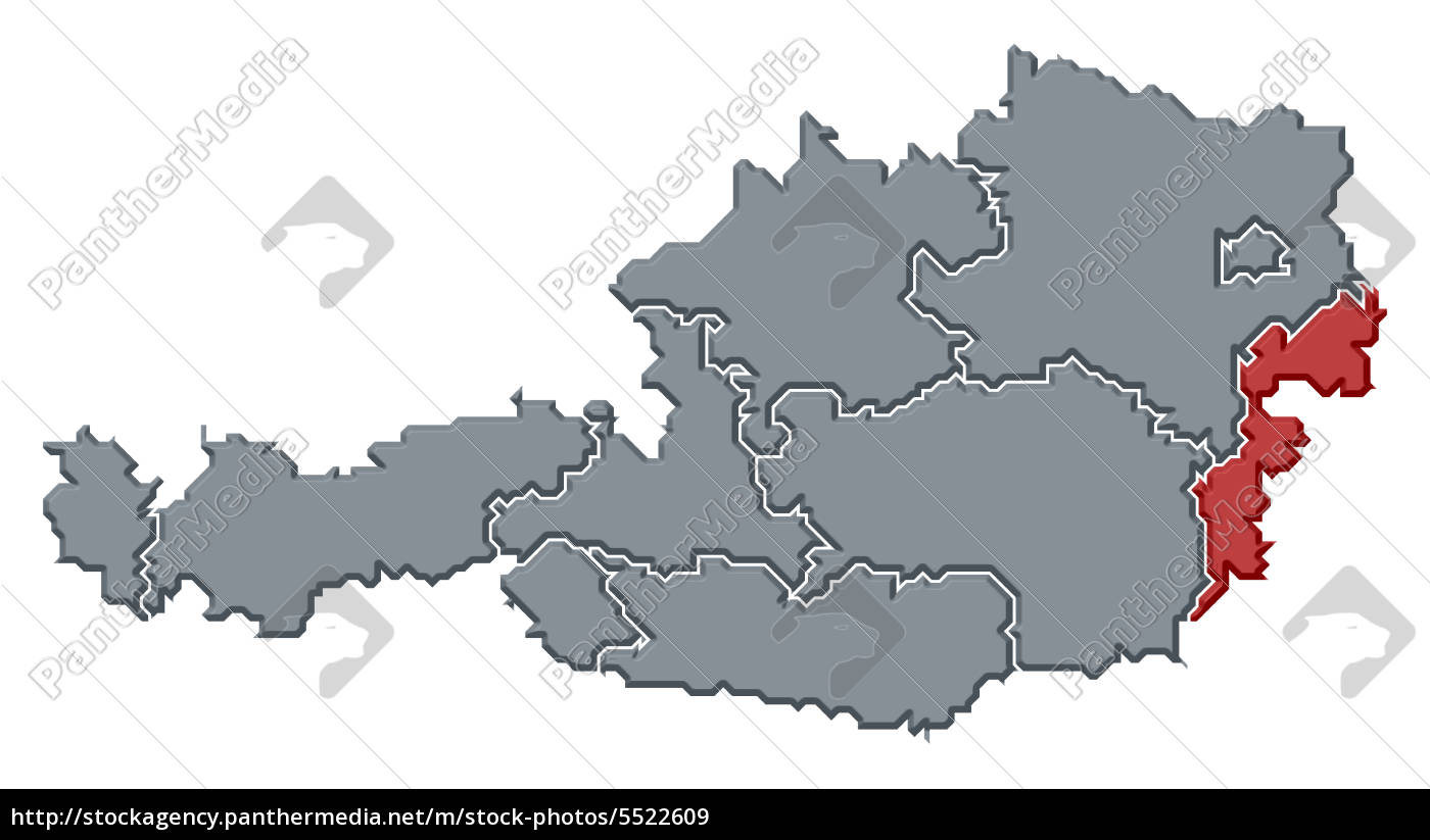 Stock Photo 5522609 - Map of Austria Burgenland highlighted
