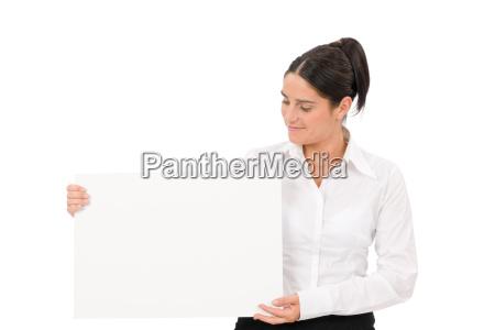 happy, businesswoman, looking, aside, empty, banner - 5523361