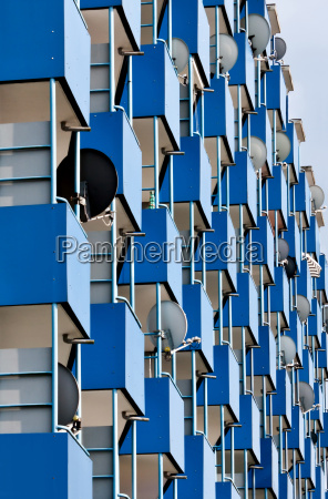 residential building with blue balconies