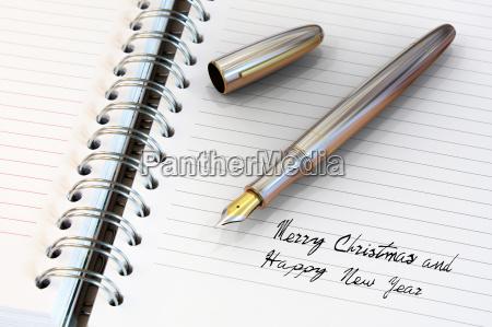 fountain pen written happy new year