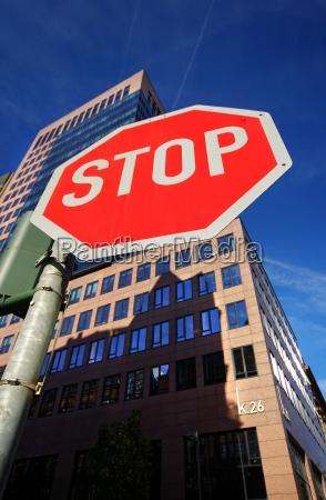 stop sign in frankfurt overlooking a