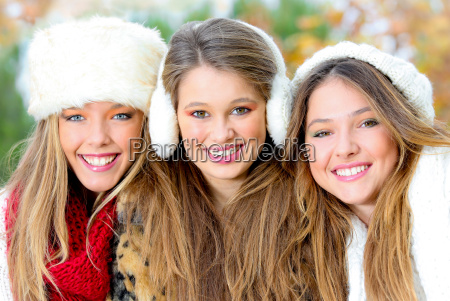 group of winter girls or young