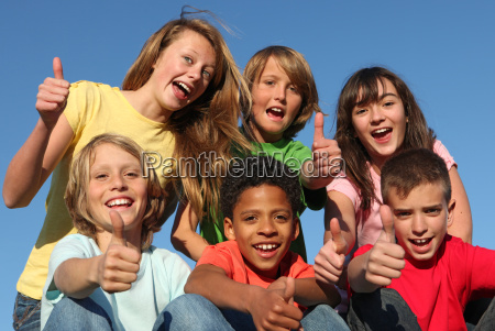group of diverse race kids