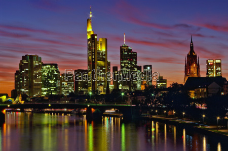 blue hour at night in frankfurt