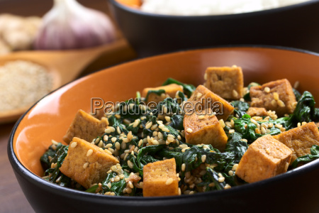 tofu with spinach and sesame
