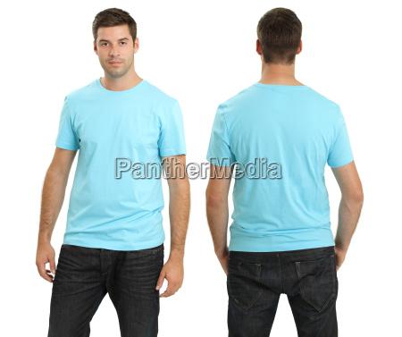 male wearing blank light blue shirt
