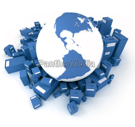 blue earth globe surrounded by packages