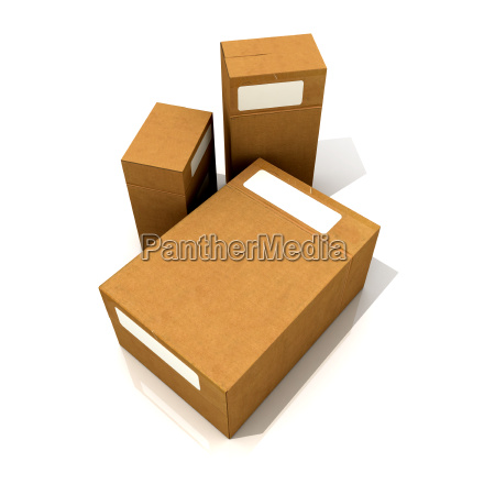 trio of cardboard boxes