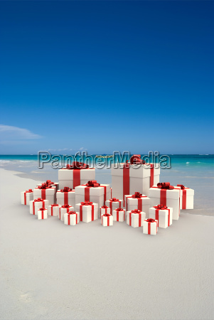 gifts on a tropical beach