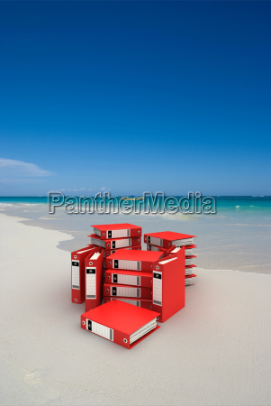 red folders on the beach