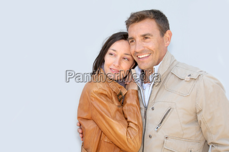 portrait of loving couple with jackets