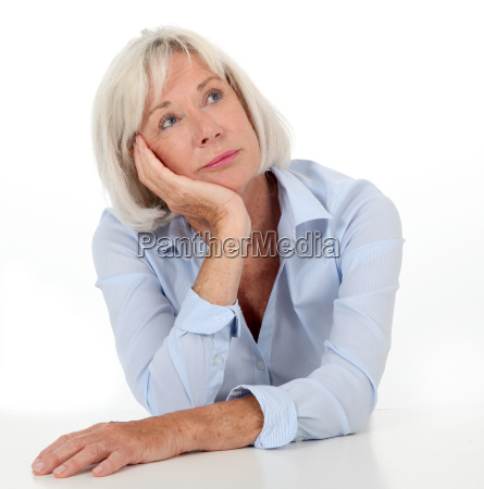 portrait of senior woman with bored
