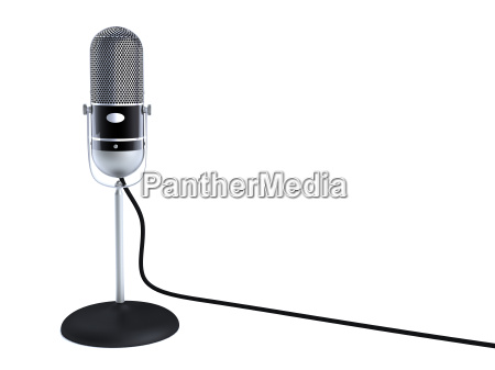 vintage silver microphone isolated on white