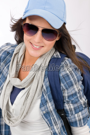 happy female teenager wear cool outfit