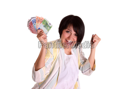 young woman is pleased about money