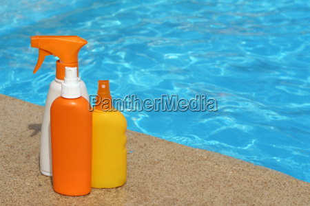 bottles of sun protection cream or