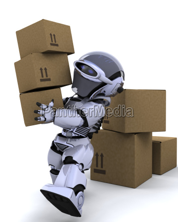 robot moving shipping boxes