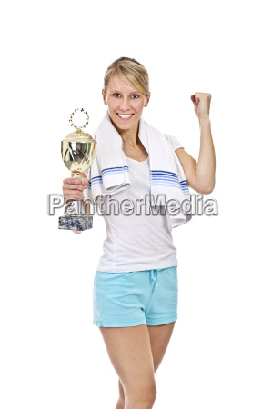 athlete with trophy