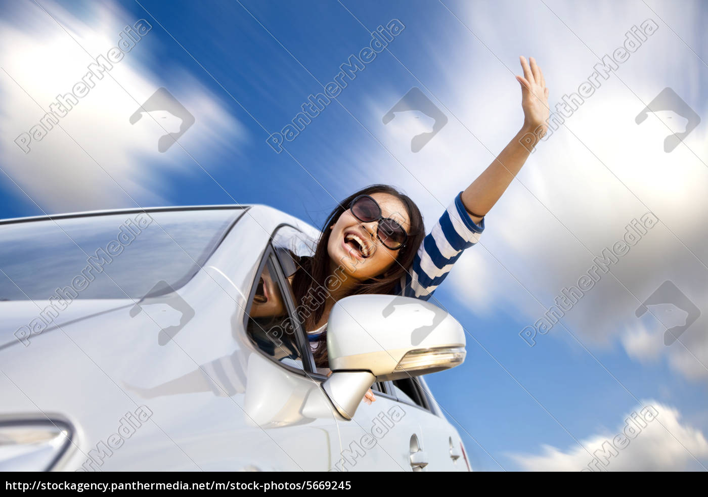 Happy Young Woman In Car Driving On The Road Stock Photo 5669245 Panthermedia Stock Agency
