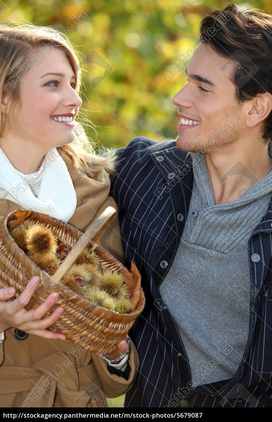 couple, gathering, chestnuts, in, basket - 5679087