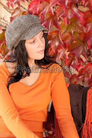 autumn fashion portrait young woman relax
