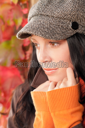autumn portrait cute female model face