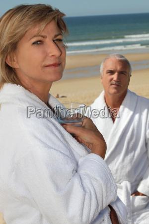 couple wearing bathrobes