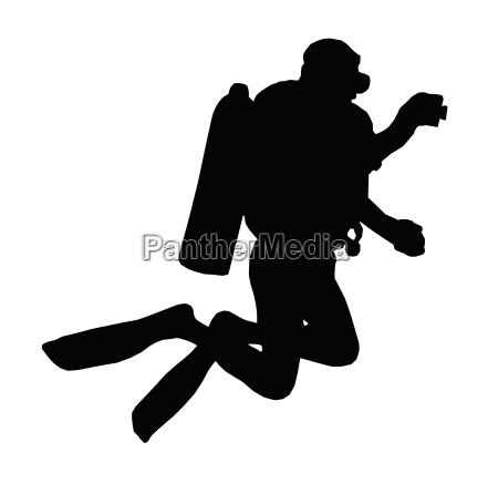 sport silhouette scuba diver taking
