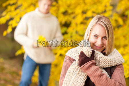 autumn happy woman with man in