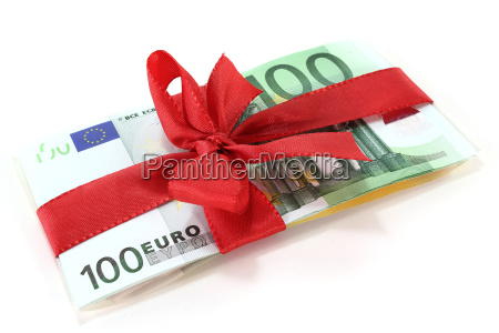 euro banknotes with a bow