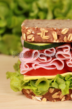 bread topped with ham