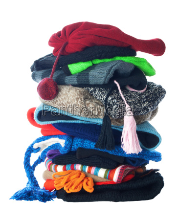 winter hats stack isolated