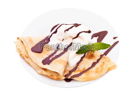crepe with ice cream and chocolate