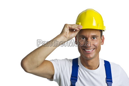 construction worker with protective helmet