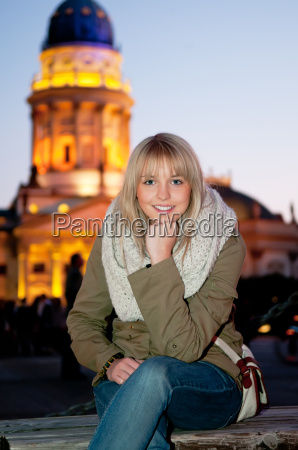 young woman in the city at