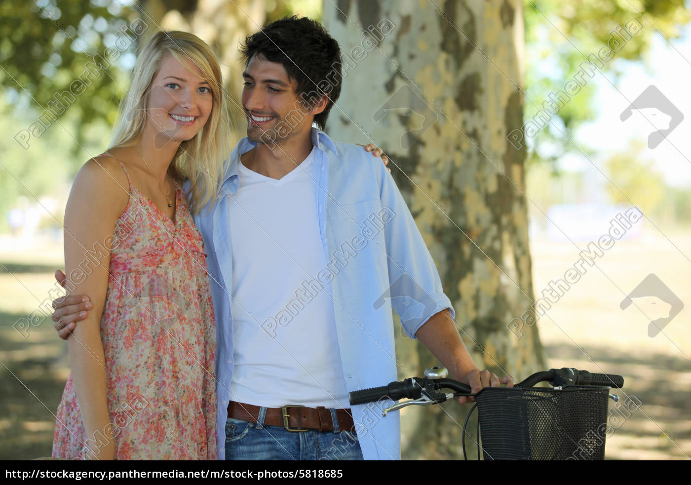 cute, couple, in, park, with, bike - 5818685