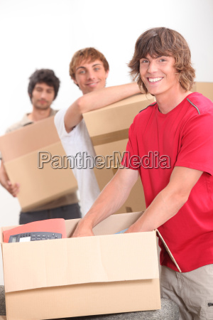 trio of flat mates moving in