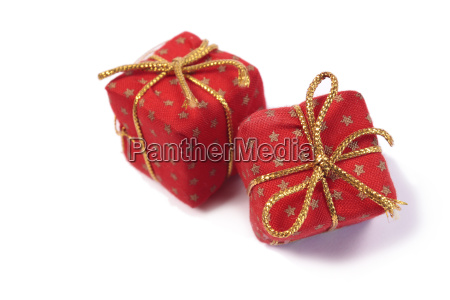 two red christmas presents isolated on