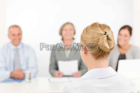 job interview young woman with business