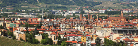 aerial panoramic view on town of