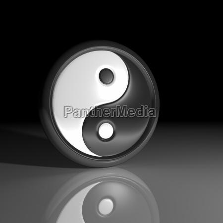 3d yin and yang symbol