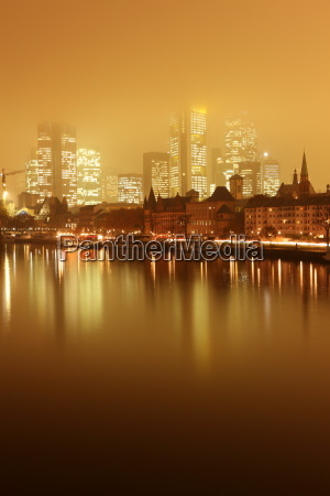 frankfurt skyline at night and fog