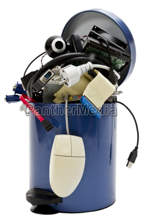 trashcan with electronic waste