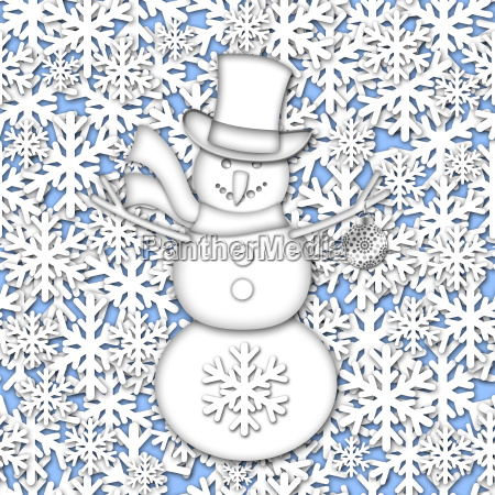 snowman over white snowflakes background