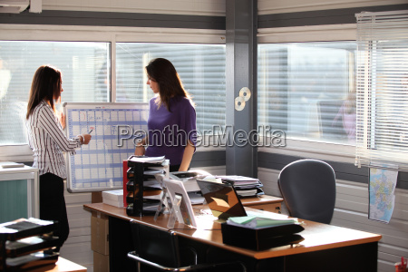 women working at an office wall